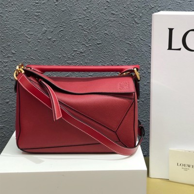 Loewe Small Puzzle Bag Grained Calfskin In Red